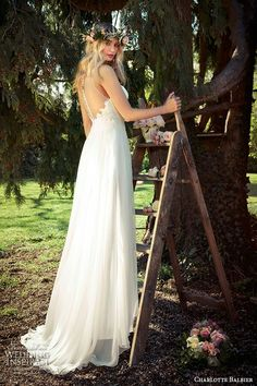 """""""Willa Rose""""  Lace & Chiffon A-Line Wedding Gown Featuring An Illusion Neckline & Back... So Beautiful!; Charlotte Balbier Bridal 2016>>>>"""