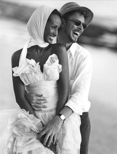 Iman and David Bowie by Bruce Weber, Cape Town, South Africa. i was there.