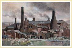 Hanley Pottery Works, Stoke-on-Trent - by Anthony Forster Pottery Kiln, Old Pottery, Museum, English Artists, Stoke On Trent, Pottery Making, Pottery Painting, Vintage Prints, Art History