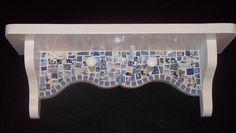 Blue china patterns mosaic shelf