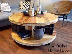 Spool turned into coffee table
