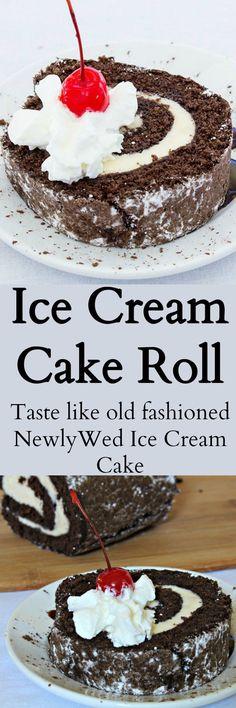 Cream Cake Roll Chocolate cake filled with ice cream. Tastes like vintage NewlyWed Ice Cream Cake of days gone by.Chocolate cake filled with ice cream. Tastes like vintage NewlyWed Ice Cream Cake of days gone by. Ice Cream Cake Roll, Ice Cream Cookie Sandwich, Ice Cream Cookies, Ice Cream Desserts, Köstliche Desserts, Frozen Desserts, Ice Cream Recipes, Dessert Recipes, Too Much Chocolate Cake