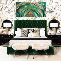 The master bedroom is the feature of your home for you. It's your protection to relax and entertain yourself with. So just why hold back out on designing this room? Green Bedroom Decor, Art Deco Bedroom, Glam Master Bedroom, Home Bedroom, Bedroom Ideas, Emerald Green Bedrooms, Beautiful Bedrooms, New Room, Decoration