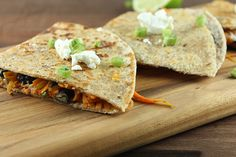 Love quesadillas but hate the empty calories? Try these Sweet Potato Quesadillas made with black beans, corn, and goat cheese for a healthy alternative. #quesadillas #sweetpotato #goatcheese