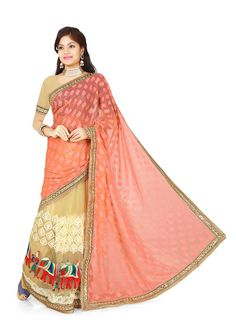 Majesty Net Multi Colour Lehenga Saree