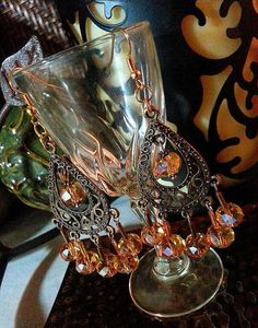 SALE Vintage Designer Style Bronze Moroccan Chandelier Earrings w/Dangling Oval Champagne Glass Gem Cut Beads & Gold Accents FREE SHIPPING - Only $5.95 on Etsy! https://www.etsy.com/listing/235750040/sale-vintage-designer-style-bronze