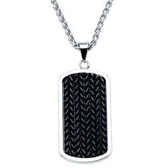Mens Steel Jewelry - Men's Black Plated Stainless Steel Dog Tag Chain Available Exclusively at Gemologica.com