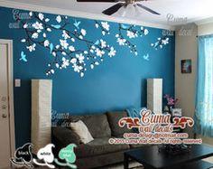 Cherry blossom wall decals nursery white flowers vinyl wall decal tree birds wall sticker kids decals nursery wall mural- by cuma Cher - Halloween İdeas