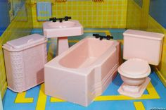 PINK & BLACK Renwal BATHROOM SET Vintage Dollhouse Furniture 1:16 Ideal Marx Tin #Renwal