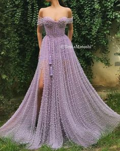 Details - Lavender dress color - Tulle dress fabric with embroidered purple beads - Fringe dress ribbon - Off-shoulder gown with an open leg and waist definition - Dress for parties and special events Source by etankeh dresses Affordable Evening Dresses, Evening Dresses Uk, Dresses Elegant, Sexy Dresses, Beautiful Dresses, Fashion Dresses, Pretty Dresses, Casual Dresses, Awesome Dresses