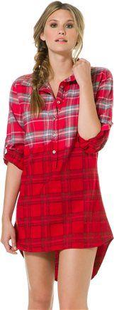 TOLANI SELENA CHERRY RED PLAID SHIRT DRESS | Swell.com