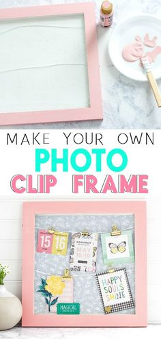 Create a cute and fun DIY Photo Clip Frame with a few simple steps and supplies. This clip frame can be used to display photos, concert tickets, memorabilia and more! #DIY #photodisplay #diyphotodisplayboard #craft #cutecrafts