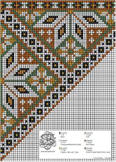 Bunad, Smykker, vev & rosemaling: Bringeduk i kobber-toner og mosegrønt. Needlepoint Designs, Needlepoint Pillows, Loom Beading, Beading Patterns, Cross Stitch Designs, Cross Stitch Patterns, Scandinavian Embroidery, Chart Design, Bead Crochet