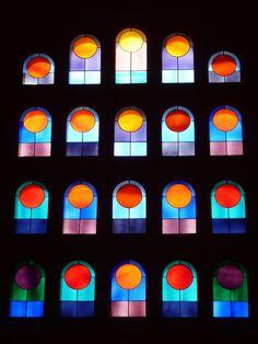 Stained glass window in Vitrail de Vasarely, Eglise de Port-Grimaud, Provence-Alpes-Côte d'Azur_ France
