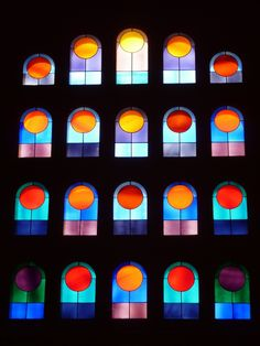 Stained glass window in Vitrail de Vasarely, Eglise de Port-Grimaud, Provence-Alpes-Côte d'Azur_ France