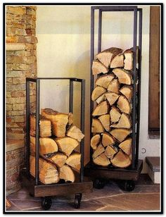 firewood storage and creative firewood rack ideas for indoor. Lots of great building tutorials and DIY-friendly inspirations! Firewood Stand, Indoor Firewood Rack, Firewood Holder, Wood Storage Box, Storage Ideas, Storage Solutions, Wood Store, Inside Home, Into The Woods