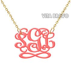 Monogram Necklace Acrylic Pink Inifinity Hand Made Custom Initials Personalized $22.99