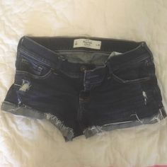 Abercrombie mini denim shorts 2 / 26 Low rise short shorts dark wash some distress Abercrombie & Fitch Shorts Jean Shorts