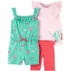 Infant /& Toddler Girls Blue /& Orange Butterfly Baby Outfit Shirt /& Shorts Set