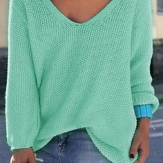 Simple V Neck Long Sleeves Pure Color Loose-Fitting Sweater