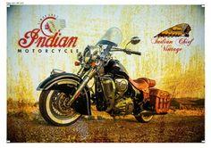 Placa Vintage Retrô - Indian Motorcycle