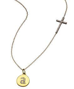 Push present !!!  KC Designs Diamond Side-set Cross and Initial Pendant Necklace #maxandchloe