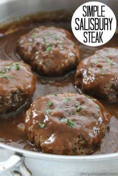 Simple Salisbury Steak – perfect weeknight recipe idea to serve the family. Add … Simple Salisbury Steak – perfect weeknight recipe idea to serve the family. Add in some mashed potatoes and your favorite veggies for the ultimate comfort food Steak Dinner Recipes, Saulsberry Steak Recipes, Easy Hamburger Meat Recipes, Chicken Recipes, Hamburger Steak In Oven, Ground Beef Dinner Ideas, Ground Chuck Recipes, Ground Beef Meals, Chopped Steak Recipes
