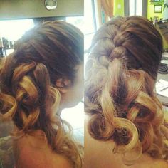 French braid and curls.  Updo