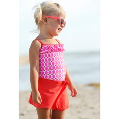 Toddler Girl one-piece with swim skirt. ADORBS!!!!! So cute and modest for little ones. Carter's is nailing it this summer.