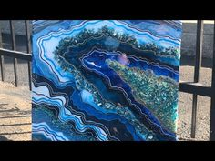 Geode with Lights, Time Lapse Tutorial - Part 1 Acrylic Pouring Art, Acrylic Art, Resin Artwork, Pour Painting, Art Techniques, Art Tutorials, Amazing Art, Awesome, Canvas Art