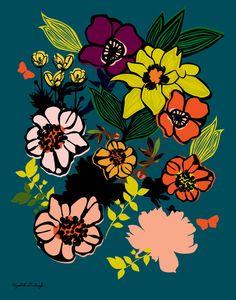 Full Bloom Flower Print 11 x 14 inches by DeweyHoward on Etsy