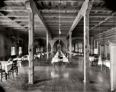 """Dining room at the Club, Pointe aux Barques.""    ::   Huron County, Michigan, circa 1900. 8x10 inch glass negative, Detroit Publishing Company"