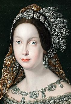 Queen Isabella II of Spain- unknown artist Queen Isabella, Spanish Royalty, Royal Beauty, Spanish Royal Family, Costume Collection, Royal Jewels, Tiaras And Crowns, Hair Ornaments, Pictures To Paint