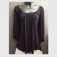 """Anthro Bordeaux M Peasant Top Black Modal Blend ▫️ Bordeaux from Anthropologie   ▪️ Pleated cuff & neckline, soft, boho peasant, stretch top. 3/4 sleeve.   ▫️ Size Medium  ▪️ 95% Modal / 5% Spandex   ▫️ Excellent used condition!  ▪️ Black  ▫️ Bust - 16.5"""" across the front, lying flat. Has stretch!  ▪️ Length - 24.5"""" from shoulder to hem.  ✅ Bundle to Save 20%!  ❌ No Trades, Holds, PP ⭐️100% Authentic   Suggested User // 700+ Sales // Fast Shipper // Best in Gifts Party Host!  Anthropologie…"""