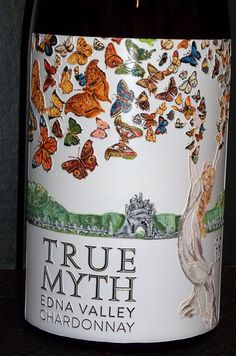 Etched and handpainted 5 Liter wine bottles by Candice Norcross for Paragon. A new label, True Myth.