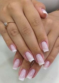 Classic Nail Arts & Images You Need to Try in 2019 Gel Uv Nails, Best Acrylic Nails, French Nails Diy, Perfect Nails, Gorgeous Nails, Short Nail Designs, Nail Art Designs, Nails Design, Cute Nails