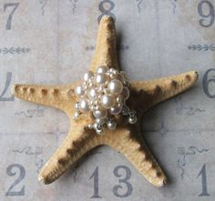 Vintage Pearl Earring Bejeweled Starfish, Beach Wedding Table Decor, Inspirational Bridal Gift, Beach Cottage Coastal Style