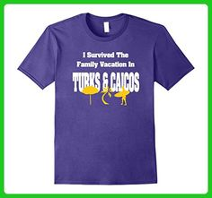 Mens I SURVIVED THE FAMILY VACATION IN TURKS & CAICOS FUNNY SHIRT Medium Purple - Relatives and family shirts (*Amazon Partner-Link)