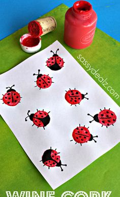 Wine Cork Ladybugs: Easy Spring Crafts for Kids. Wine Cork Ladybugs: Easy Spring Crafts for Kids. Spring Art Projects, Spring Crafts For Kids, Easy Art Projects, Summer Crafts, Projects For Kids, Art For Kids, Preschool Crafts, Easter Crafts, Fun Crafts