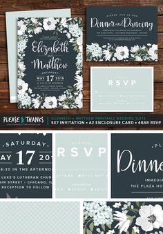 """This modern floral printable wedding invitation suite incorporates modern script typography with classic white and baby blue florals. The set includes a 5x7"""" 2-sided Invitation; a 5.5x4.25"""" Response Card; and a 4.875x3.5"""" Enclosure Card. Colors and typography can be customized to your preferences. All cards are 2-sided and include the same back panel design."""