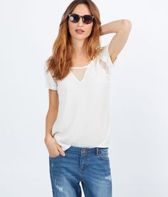 Top fluide empiècement plumetis - MICKY - BLANC CASSÉ - Etam Boutique Lingerie, Fall Winter 2015, Basic Tank Top, T Shirt, V Neck, Tank Tops, Women, Fashion, Off White Color