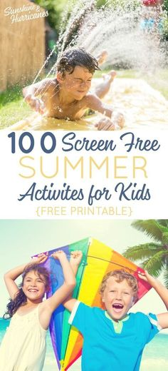 100 Screen Free Summer Activities for Kids Toddler To Teen. It's easy to say you want your kids to spend less time on tech, but what will they do instead? We've got 100 ideas for you (includes free printable). Source by sunandhurricane Free Activities For Kids, Outdoor Activities For Kids, Summer Activities For Kids, Holiday Activities, Infant Activities, Family Activities, Summer Fun For Kids, Summer Fun List, Summer Bucket
