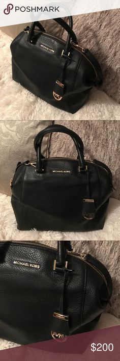 Michale Kors Handbag This Michael Kors Handbag is in excellent condition and has only been used a handful of times. The beautiful black leather and gold hardware offer a stylish, classic look that can be dressed up or down. The bag has several pockets inside, as well as, a handle and shoulder strap. Michael Kors Bags Satchels