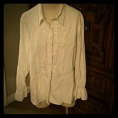Bright white blouse Very polite button down blouse....great for dress up or down! ! Dress Barn Tops Blouses