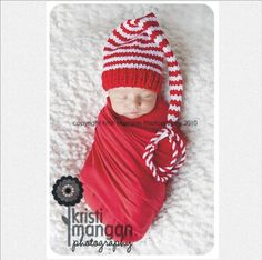 Newborn Boy Girl Baby CHRISTMAS Hat Photo PROP Unigender red white stripe Munchkin long tail Stocking Cap @Amy Lyons Hanshew