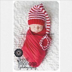 Newborn Boy Girl Baby CHRISTMAS Hat Photo PROP Unigender red white stripe Munchkin long tail Stocking Cap @Amy Lyons Hanshew