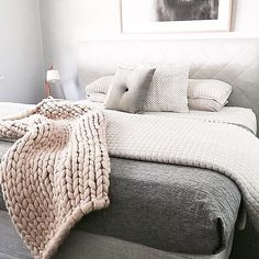 Such a fan of the gorgeous styling of @the_stables_ featuring our light grey button cushion, chunky knit throw is by our supplier @nickel.n.co thank you Catherine