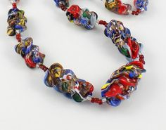 Vintage necklace Art Deco Venetian Aventurine Millefiori glass with Rare Pinched Beads $375