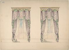 Design for Pink and White Curtains with Green Fringes, and Gold and White Pediments Anonymous, British, 19th century   Date:     ca. 1820 Medium:     Ink, watercolor and wash Dimensions:     sheet: 10 13/16 x 15 in. (27.5 x 38.1 cm) Classification:     Drawings