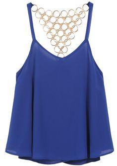 Blue Spaghetti Strap Metal Chiffon Vest